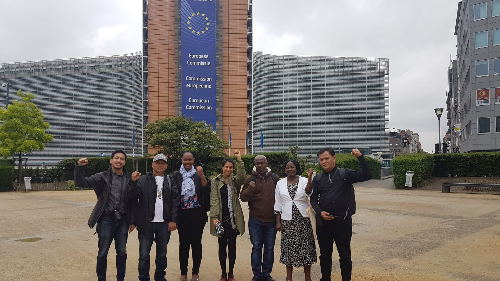 Lobby tour participants outside the EU Brussels